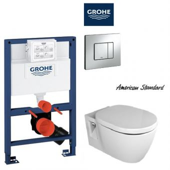 American Standard Concept Nuovo Wall Hung Toilet & Grohe Concealed Cistern with Front / TOP Flush Package