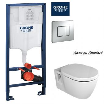 American Standard Concept Nuovo Wall Hung Toilet & Grohe Concealed Cistern with Front Flush Package (H1.13m)