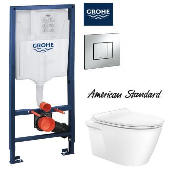 [PRE-ORDER] American Standard Acacia SupaSleek Wall Hung Toilet & Grohe Concealed Cistern with Front Flush Package (H1.13m)