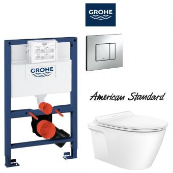 American Standard Acacia SupaSleek Wall Hung Toilet & Grohe Concealed Cistern with Front / TOP Flush Package