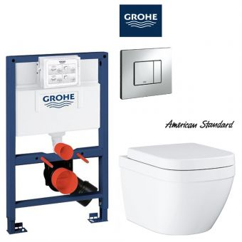 American Standard EUROSMART Wall Hung Toilet & Grohe Concealed Cistern with Front / TOP Flush Package