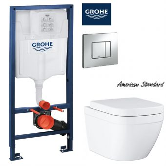 American Standard EUROSMART Wall Hung Toilet &  Concealed Cistern with Front Flush Package (H1.13m)