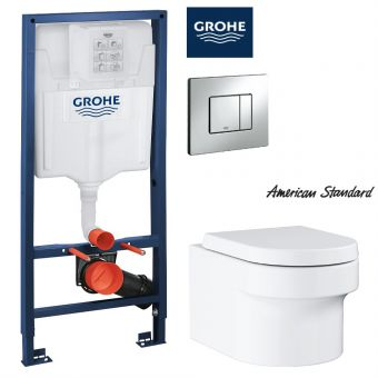 Grohe EUROCOSMO Wall Hung Toilet & Concealed Cistern with Front Flush Package (H1.13m)