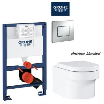 American Standard EUROCOSMO Wall Hung Toilet & Grohe Concealed Cistern with Front / TOP Flush Package