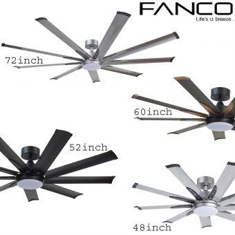 Fanco E-LITE Ceiling Fan 48/52/60/72inch with light option