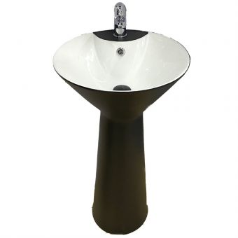Roz Conical Full Pedestal White-Black Basin