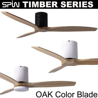 Spin Timber Series Ceiling Fan - Oak color blade  43/52/60 inch with Light Option