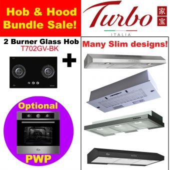 2 Burner Black Glass Hob & Hood with optional PWP Oven bundle