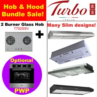 2 Burner Stainless Steel Hob & Hood with optional PWP Oven Bundle