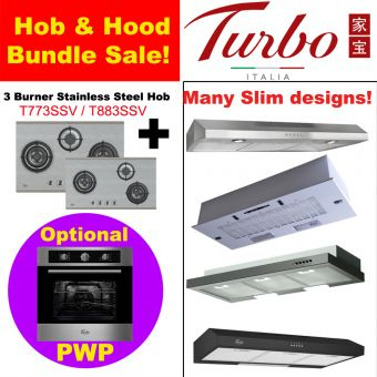 3 Burner Stainless Steel Hob & Hood with optional PWP Oven bundle
