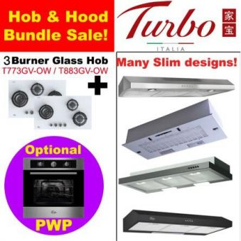 3 Burner OW Glass Hob & Hood with optional PWP Oven bundle